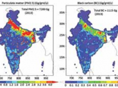 Spatial distributions of annual emissions of particulate matter (PM 2.5 ) and black carbon (BC) from Indian indus- trial, transport and residential energy-use